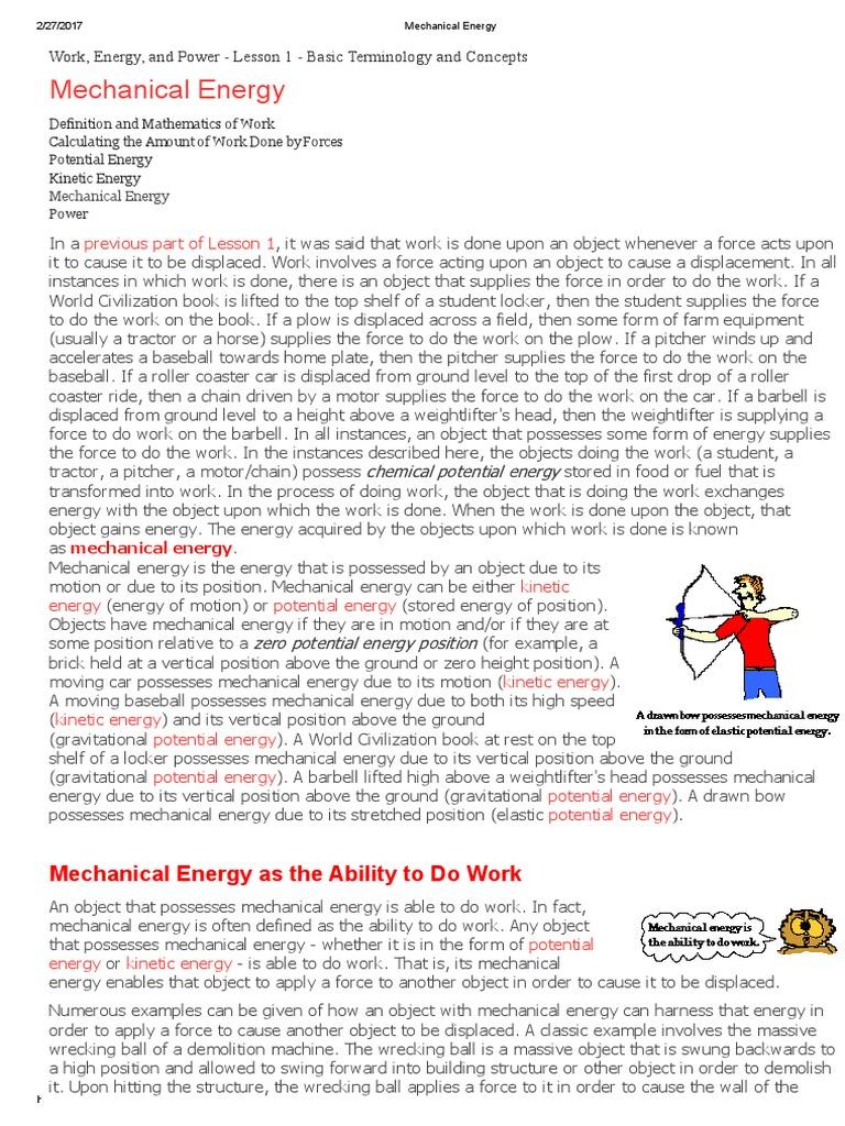 mechanical energy | potential energy | kinetic energy