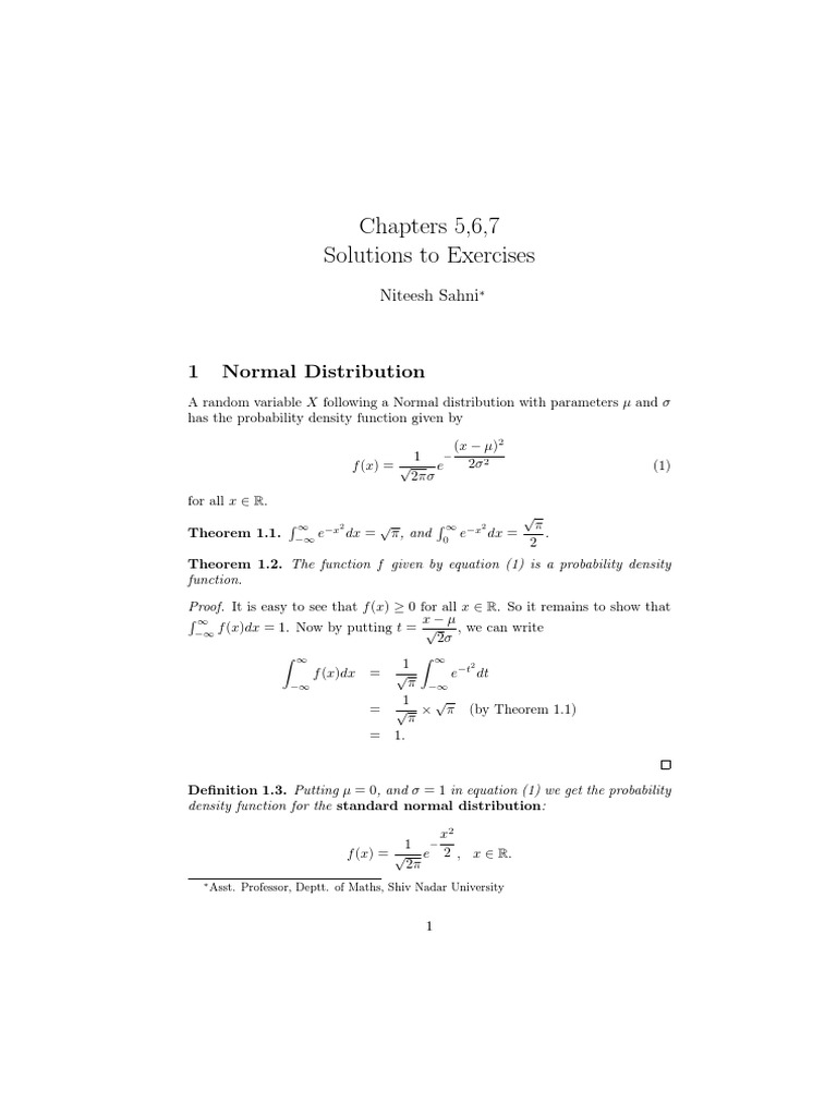 Probability Notes Normal Distribution