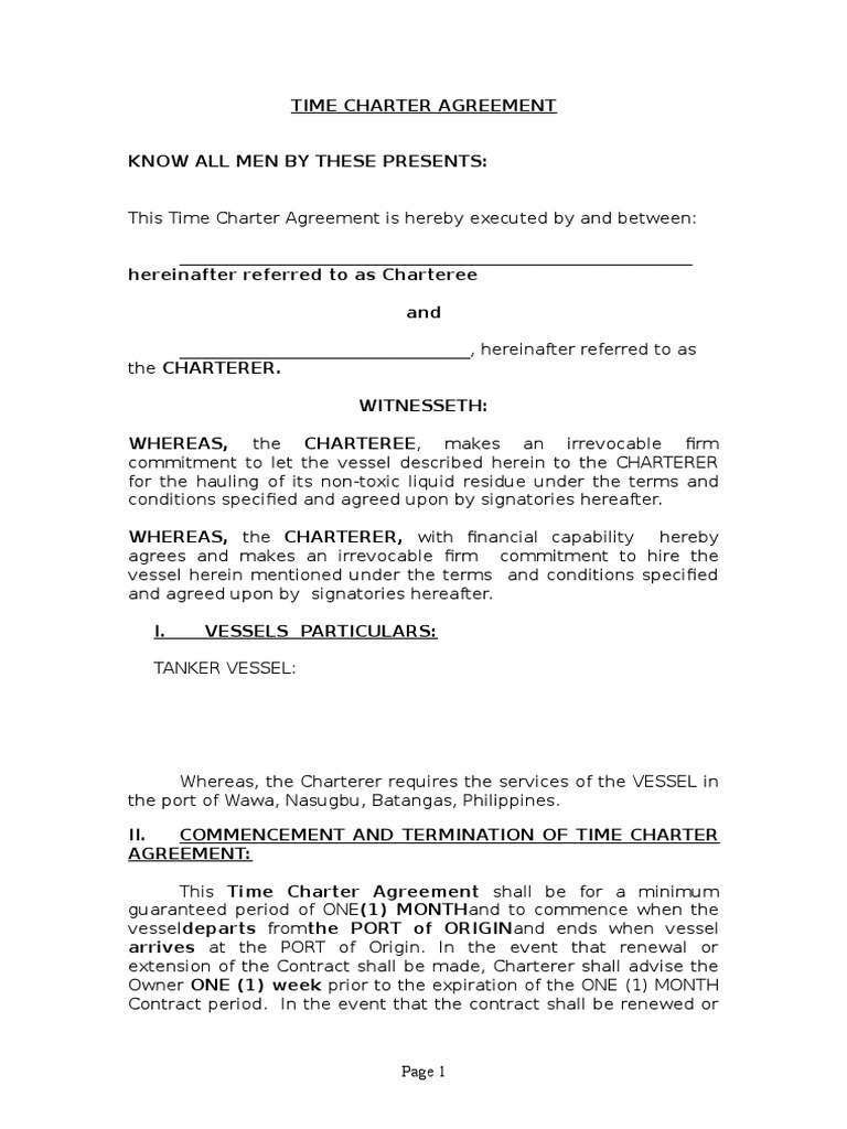 Draft Time Charter Agreement Cargo Watercraft