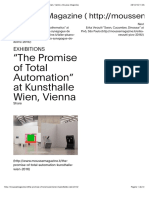 """the Promise of Total Automation"" at Kunsthalle Wien, Vienna •Mousse Magazine"