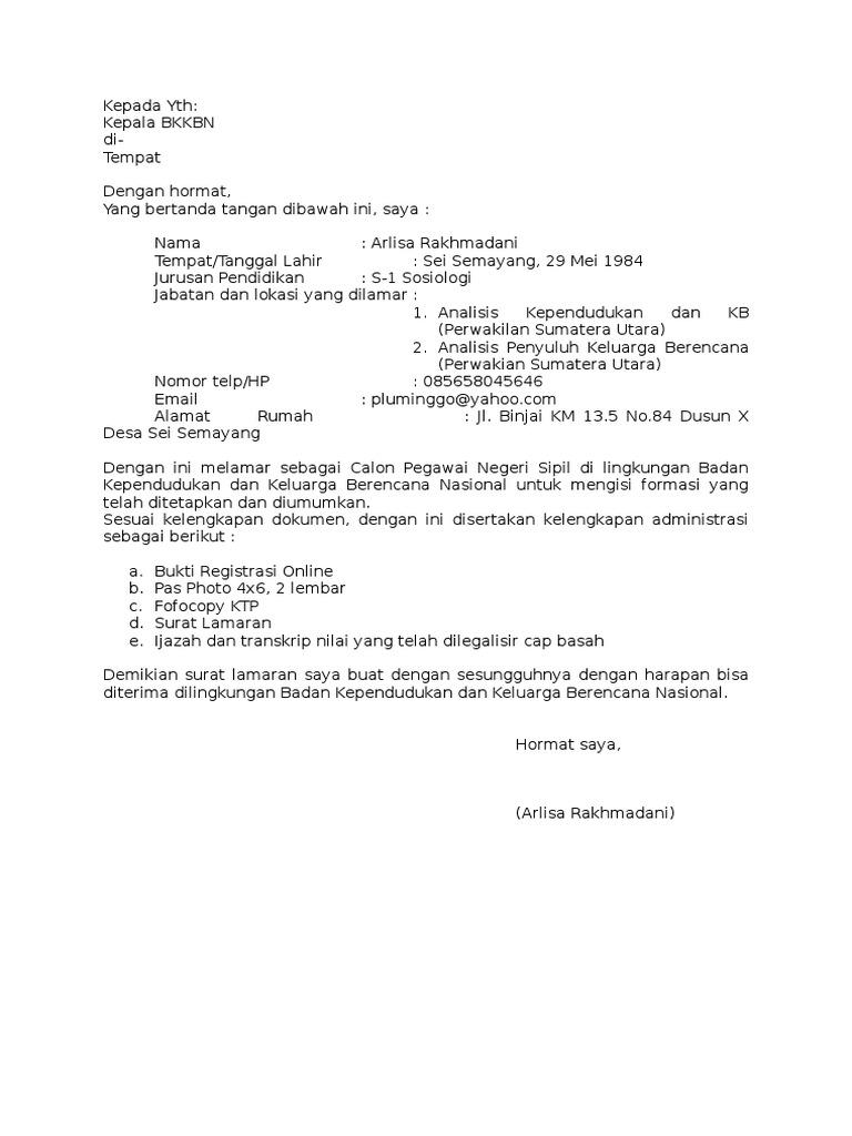 contoh surat lamaran bkkbn