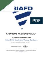 Andrews Fasteners Limited - executive member of British & Irish Association of Fasteners Distributors