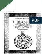 Balandier Georges - El Desorden La Teoria Del Caos Y Las Ciencias Sociales