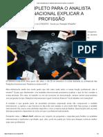 Guia Completo Para o Analista Internacional Explicar a Profissão