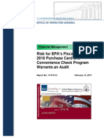 Risk for EPA's Fiscal Year 2016 Purchase Card and Convenience Check Program
