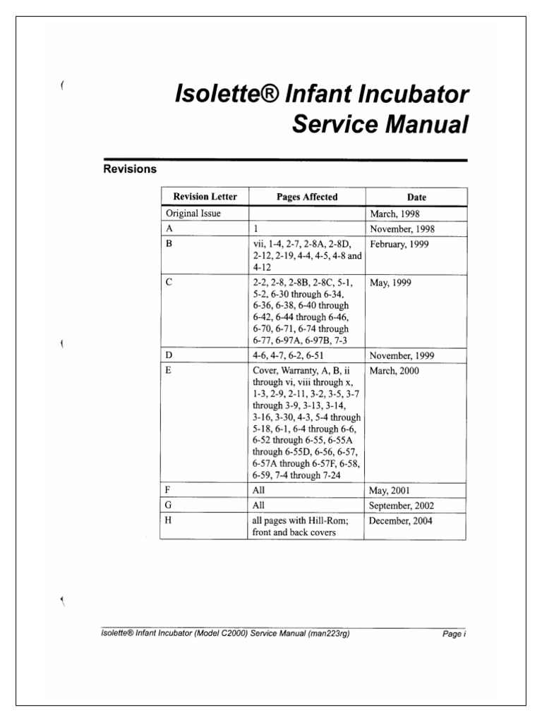 Hill Rom Isolette C2000 Service Manual