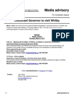 Lieutenant Governor to Visit Whitby