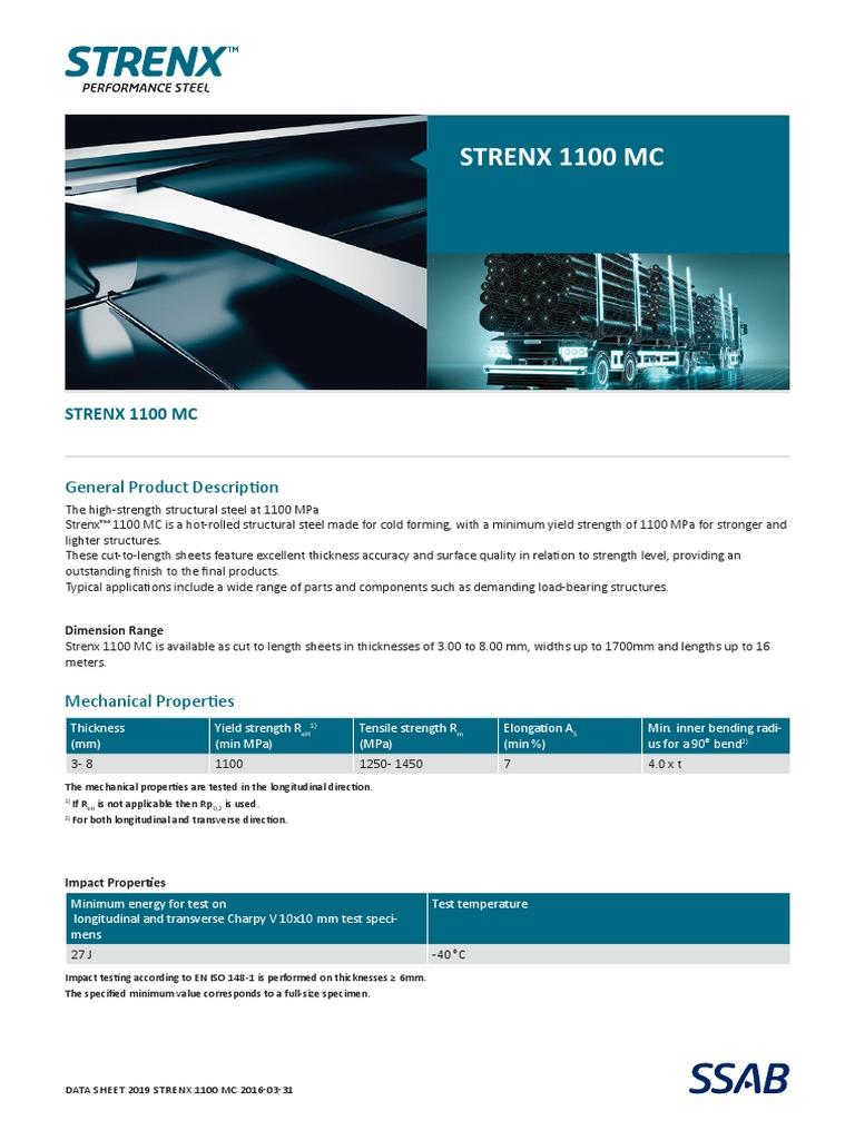 Data Sheet Strenx_1100 | Sheet Metal | Engineering Tolerance