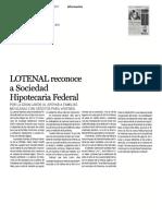 01/Marzo/2017 LOTENAL Reconoce a Sociedad Hipotecaria Federal IMPACTO