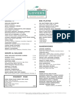 Lovers Seafood + Market Menu