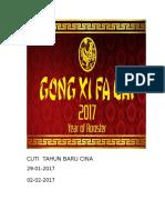 Cuti Tahun Baru Cina