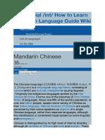 Aprender Un Lenguaje Como Chino