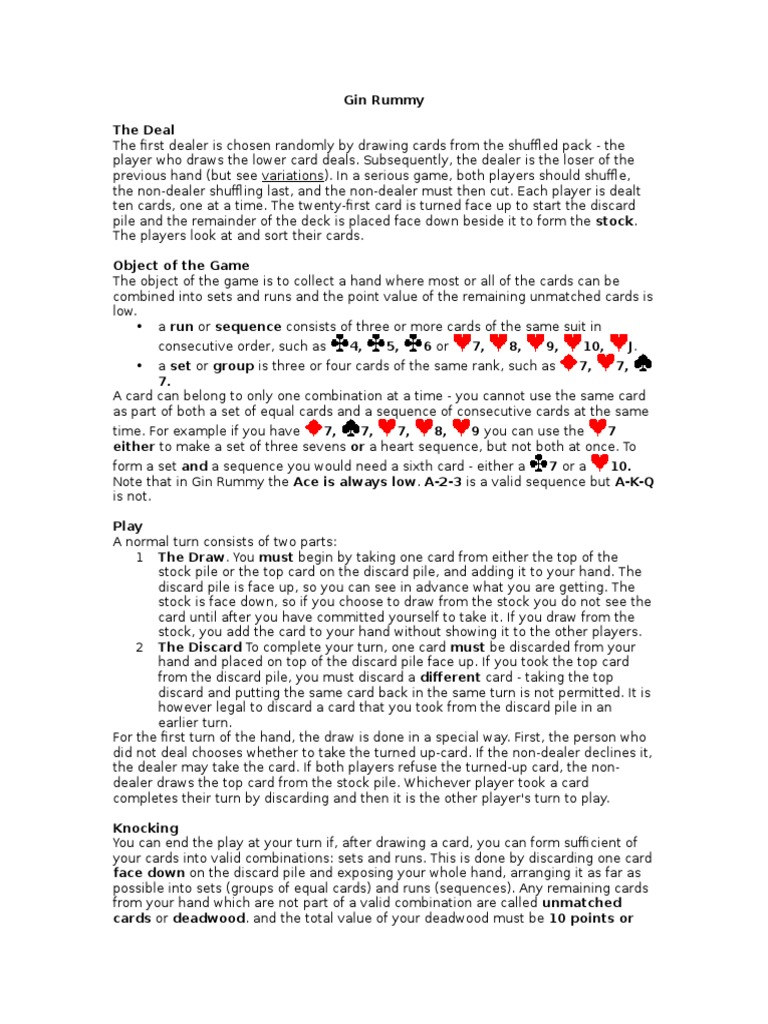 Card Game Rules Rummy Playing Cards