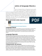 Diferencia Entre El Lenguaje Literal y El Figurado