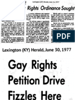 Effort to spur gay rights in Kentucky, 1977