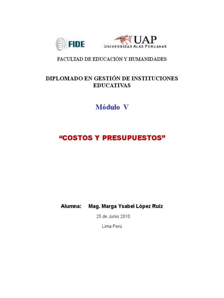 Elaboración de Presupuesto de una Institucion Educativa