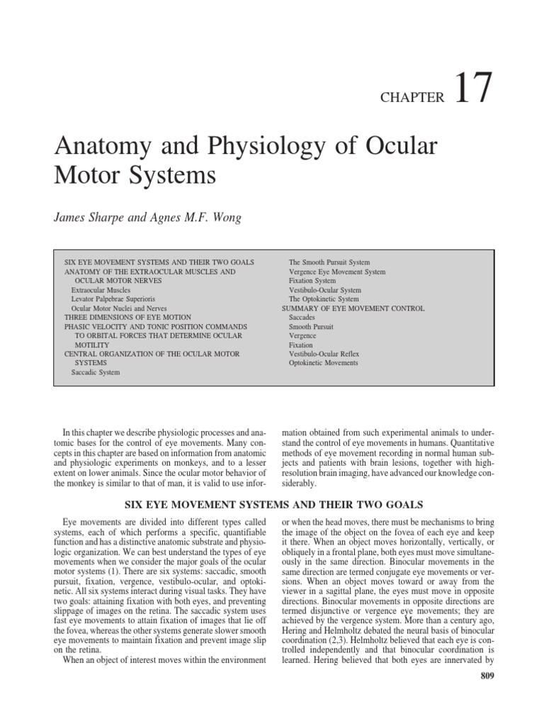 CHAPTER17 Anatomy and Physiology of OcularMotor Systems ...