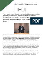 """""""Admiração Eucarística""""_ a Prática Litúrgica Como Fonte Para a Teologia"""