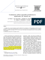 Continuous carbon nanotube production in underwater AC electric arc