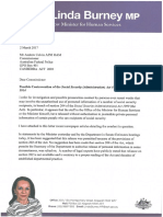 Letter to Australian Federal Police Commissioner from Shadow Minister for Human Services Linda Burney MP