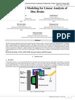 Finite Element Modeling for Linear Analysis of Disc Brake