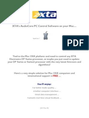 XTA AudioCore PC Control Software for Mac | Macintosh | Mac Os