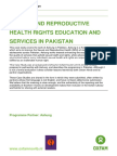 Sexual and Reproductive Health and Rights Education and Services in Pakistan
