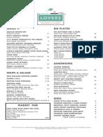 Lovers Seafood Dinner Menu PDF