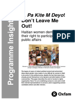 Pa Kite M Deyo! Don't Leave Me Out! Haitian women demand their right to participate in public affairs