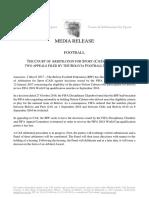 Comunicado del  Tribunal de Arbitraje del Deporte sobre caso Cabrera