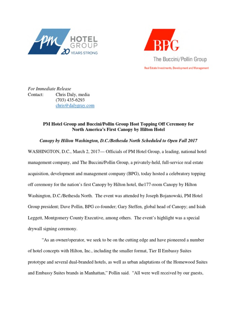 Press Release - Topping Off Event - Canopy by Hilton Washington DC Bethesda North | Hilton Worldwide | Hotel  sc 1 st  Scribd & Press Release - Topping Off Event - Canopy by Hilton Washington DC ...