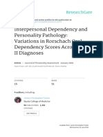 Interpersonal Dependency and Personality Pathology. Variations in Rorschach Oral Dependency Scores Across Achses II Diagnoses