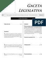Gaceta legislativa que contiene la Iniciativa de  Ley de Austeridad Republicana