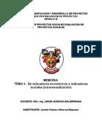Tema 3. de Indicadores Económicos a Indicadores Sociales (Transversalización)