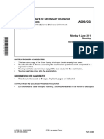 59020 Question Paper Unit a293 Production Finance and the External Business Environment Case Study