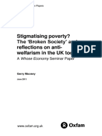 Stigmatising Poverty? The 'Broken Society' and reflections on anti-welfarism in the UK today