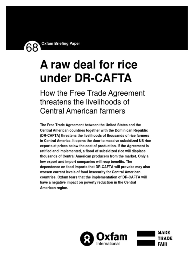A Raw Deal For Rice Under Drcafta How The Free Trade Agreement