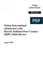 Oxfam International Submission to the Heavily Indebted Poor County (HIPC) Debt Review
