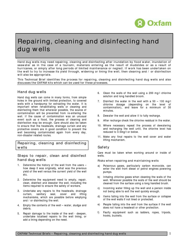 Well: cleaning and repair 26