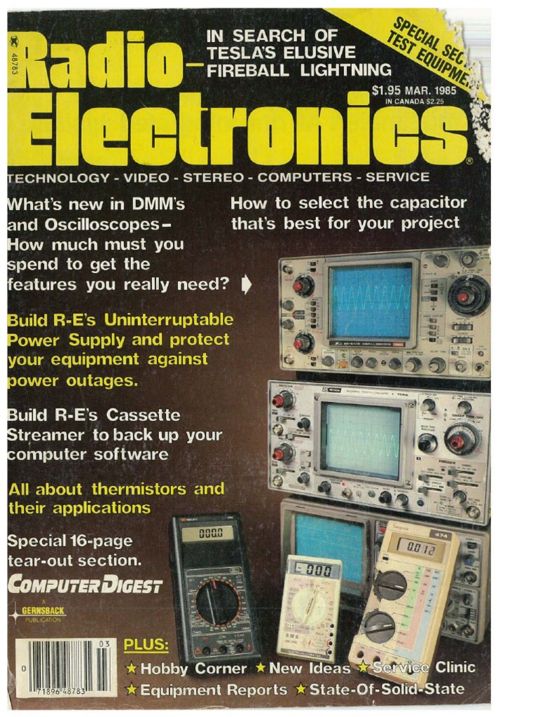 Radio Electronics March 1985 | Telecommunications | Radio