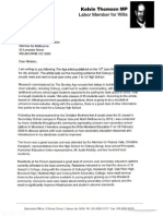 Kelvin Thomson Federal Member for Wills letter to Bronwyn Pike, Minister for Education