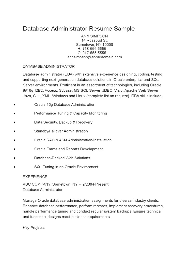 Database Administrator Resume Sample Oracle Database Databases