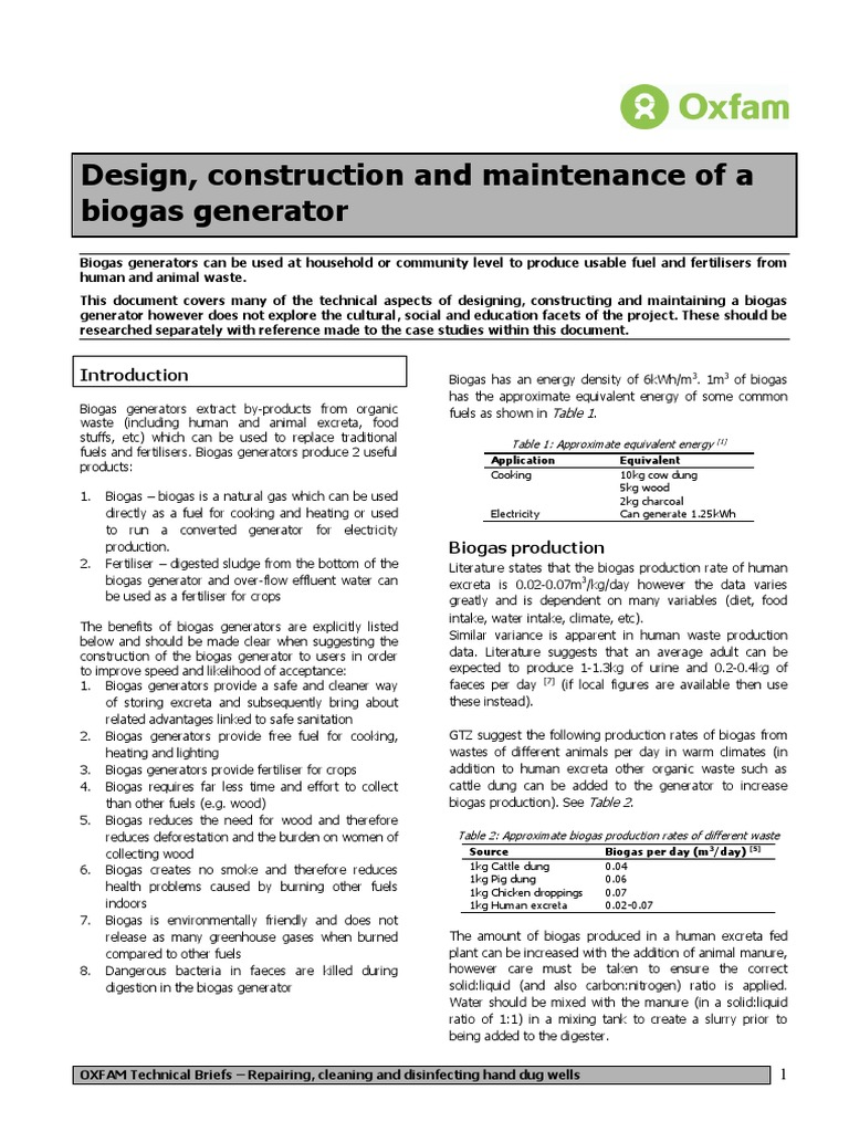 Design Construction And Maintenance Of A Biogas Generator Plant Diagram Advantages Digester Generation Anaerobic Digestion