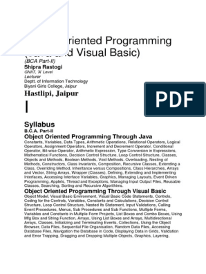Object Oriented Programming Java and Visual Basic Notes