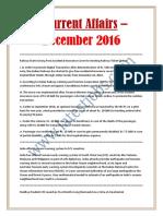 Current Affairs – December 2016