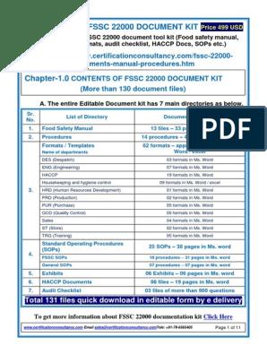 Fssc Document Kit | Hazard Analysis And Critical Control