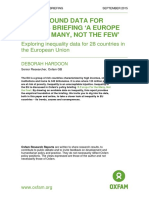 Background Data for Oxfam Briefing 'A Europe For the Many, Not the Few'