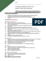 Critical Defect List - Apparel Accessories