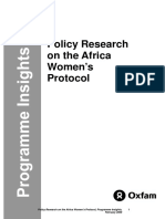 Policy Research on the Africa Women's Protocol