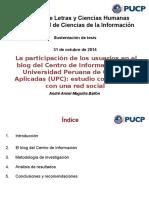 La participación de los usuarios en el blog del centro de información de la Universidad Peruana de Ciencias Aplicadas (UPC)